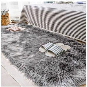 Gray fluffy rug